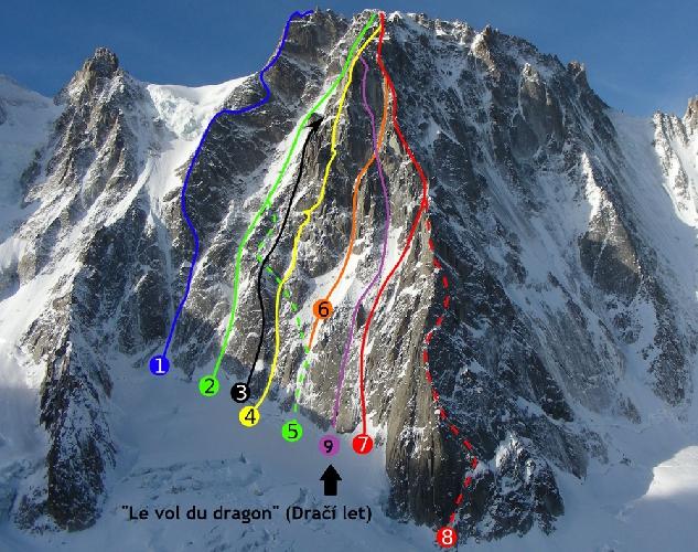 Маршруты юго-восточной стены горы Les Droites (в Альпах). Линия Le vol du dragon под номером 9