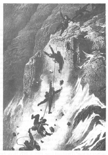 Трагедия на Маттерхорне в 1865 году. Гравюра Gustave Doré
