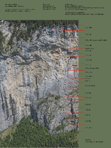 "стена Staldeflue, у города Лаутербруннен в Швейцарии. Маршрут ""Fly"" (8с, 550 метров)"