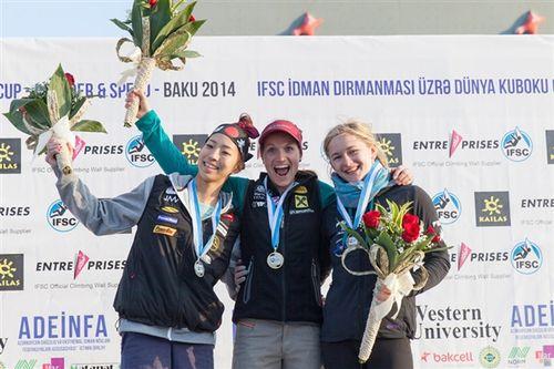 Итоговый зачет Кубка Мира 2014 года по боулдерингу: 1. Akiyo Noguchi (Япония)  2. Shauna Coxsey (Великобритания)   3. Anna Stohr (Австрия)