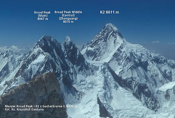 Броуд-Пик Главная, Броуд-Пик Средняя и К2 - высочайшие вершины Пакистана