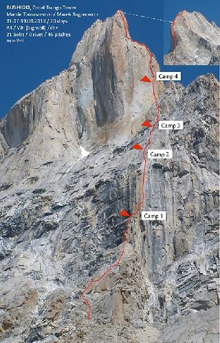 "маршрут ""Bushido"" (A4, VII + VII Big Wall). Great Trango Tower"