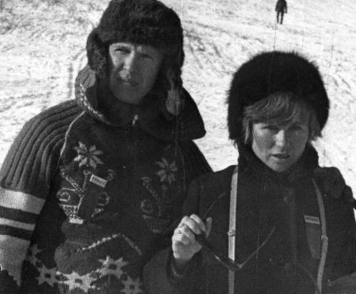 Володя с Элей в Туристе (февраль 1972),  (на судействе лыжных альп. сорев.).