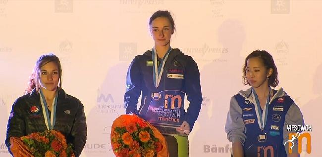 Женский подиум на Чемпионате Мира по боулдерингу 2014 года