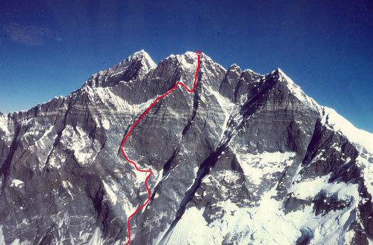 Лхоцзе, Южная стена (South Face Lhotse). Восхождение японской команды 2009 года и точка откуда они спустились в низ