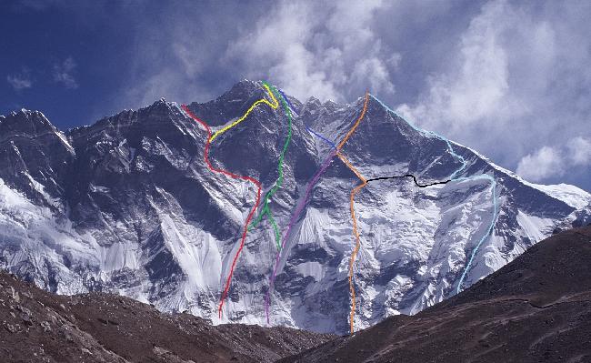 Лхоцзе, Южная стена (South Face Lhotse). Все маршруты восхождения. Lhotse south face routes