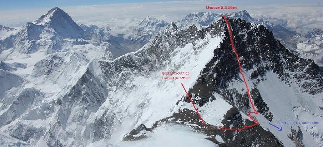 Лхоцзе. Западная стена, стандартный маршрут (West Face Normal Route). Вид с седловины Эвереста