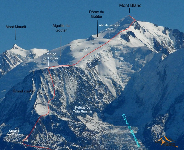 "Стандартный маршрут восхождения, хижина ""Tête-Rousse"" и хижина Goûter на склонах Монблана"