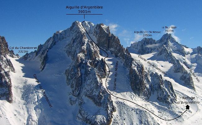 маршрут восхождения на пик Аржантье (Aiguille d