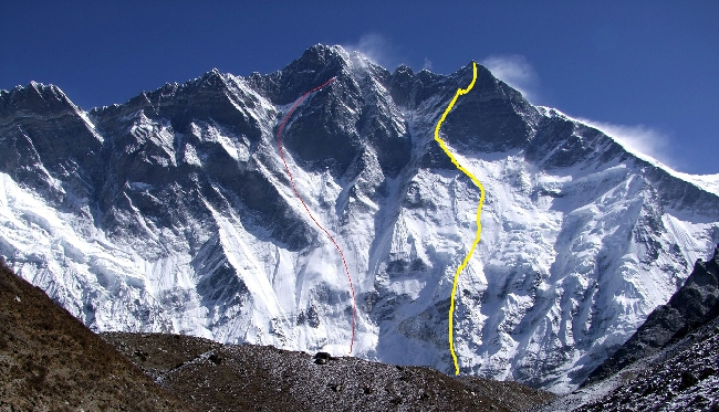 Лхоцзе, Южная стена (South Face Lhotse). Маршрут Чехословацкой экспедиции 1984 года (линия желтого цвета)