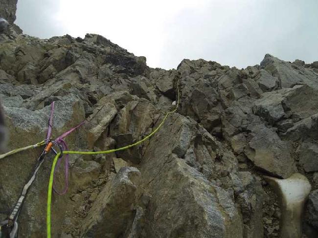 Первая веревка на втором скальном бастионе.