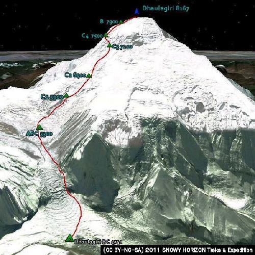 Дхаулагири, стандартный маршрут восхождения по Северо-восточному гребню