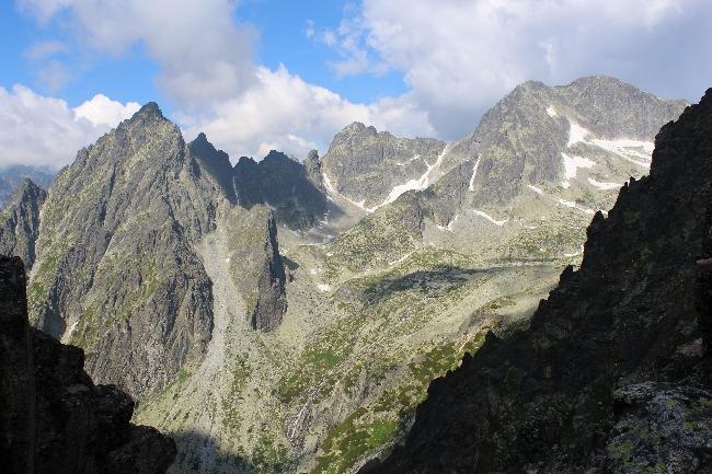 Мала Студена долина, пик Простредний Грот, вид с Ломницкого седла