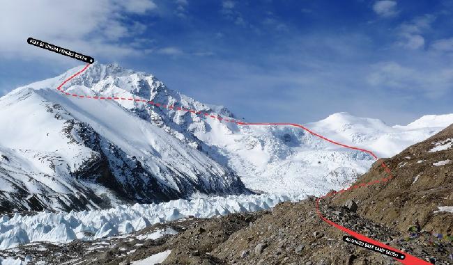 Шишабангма (8027 м), также известная как Шиша-Пангма или Госаинтан. Стандартный маршрут восхождения
