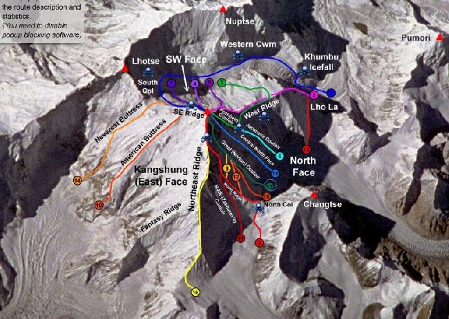 Все существующие маршруты на Эверест. Стандартный маршрут восхождения с Севера отмечен цифрой 2