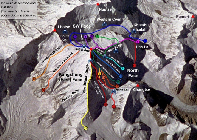 Все существующие маршруты на Эверест. Австралийский маршрут White Limbo 1984 года отмечен цифрой 11