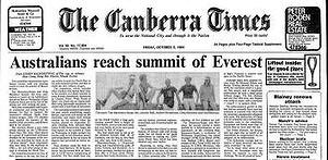 Первая полоса австралийской газеты The Canberra Times, от 5 октября 1984 года