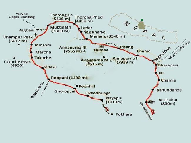 Карта треккинга Annapurna Circuit