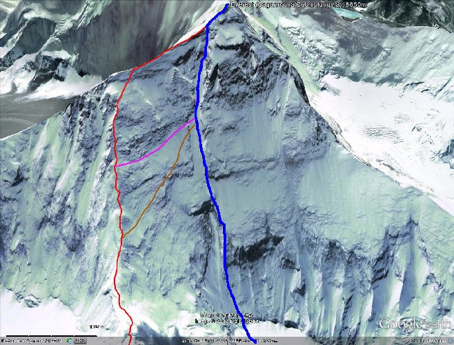 "маршрут ""White Limbo"" по Северному кулуару (северная стена – кулуар Нортона) отмечен синим цветом"