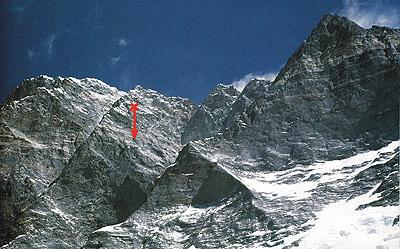 Примерное место срыва Ежи Кукучки на восьмитысячнике Лхоцзе