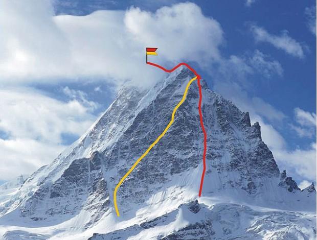 Вид на Северную стену Хагшу Пик (Hagshu Peak, 6515 м, Восточный Киштвар, Индия). Маршруты 2014 года. Красная линия - маршрут словенской команды. Желтая линия - маршрут британцев