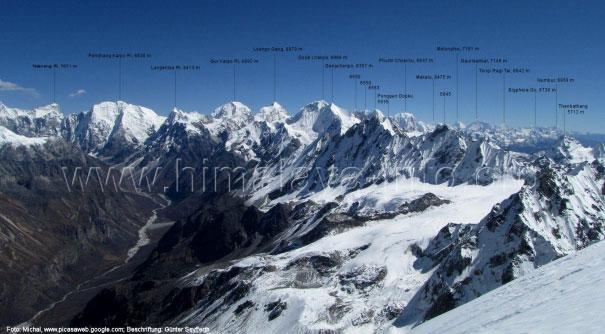 Снято с Mt. Naya Kangri. На карте место съёмки отмечено желтым элипсом