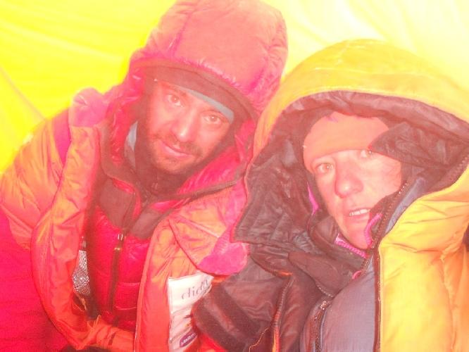 Даниэль Нарди (Daniele Nardi),Элизабет Ривол (Elisabeth Revol) в Camp2 на Нангапарбат зимой 2012/2013 года