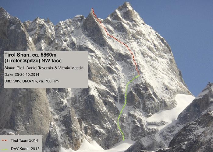 Маршрут ан вершину  Тироль Шань (Tirol Shan). Зеленым цветом обозначена линия пройденная в 2012 году немецкими альпинистами. Красным цветом - линия на вершину пройденная осенью 2014 года