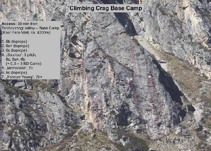 Скалолазные маршруты у базового лагеря