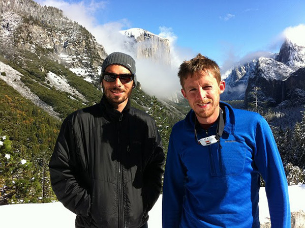 "Кевин Йоргесон (Kevin Jorgeson) и Томми Колдвелл (Tommy Caldwell) на маршруте ""Dawn Wall"" на Эль-Капитане. ноябрь 2014"