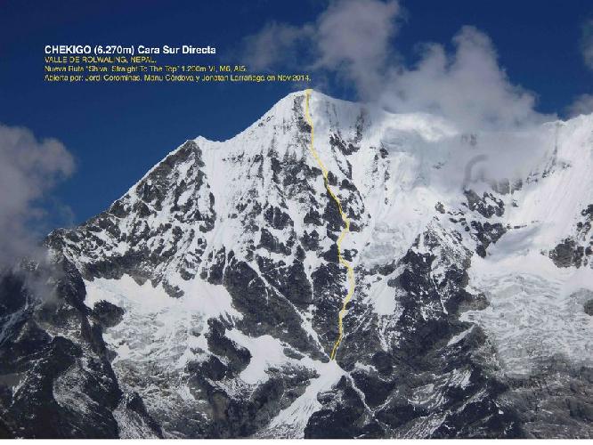 """маршрут """"Shiva: straight to the top"""" по центру непокоренной ранее Южной стены горы Чекиго (Chekigo, 6270 м)"""