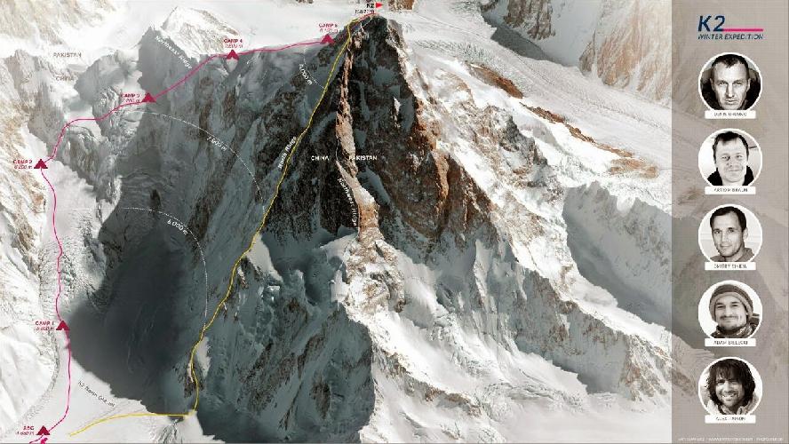 Красным цветом обозначен вероятный маршрут команды Дениса Урубко на К2 зимой 2014/2015 года.