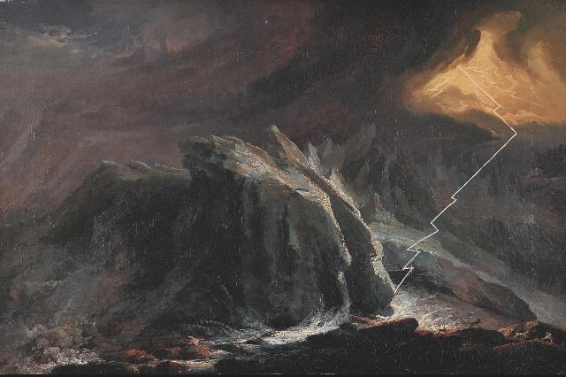 Каспар Вольф (Caspar Wolf); ледник «Нижний Гриндельвальдский глетчер» («Unterer Grindelwaldgletscher») и удар молнии, примерно в 1775 г. Каспар Вольф (Caspar Wolf); ледник «Нижний Гриндельвальдский глетчер» («Unterer Grindelwaldgletscher») и удар молнии, примерно в 1775 г.