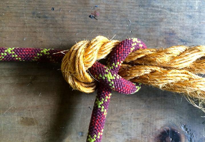 Шкотовый узел полезен, когда нужно связать два куска веревки разных размеров.