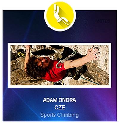 Адам Ондра - кандидат на премию Спортсмен года по версии Международной ассоциации Всемирных игр