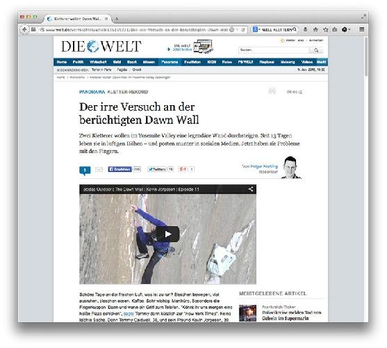 """проект """"Dawn Wall"""" на Эль-Капитане (Йосемити, США)."""