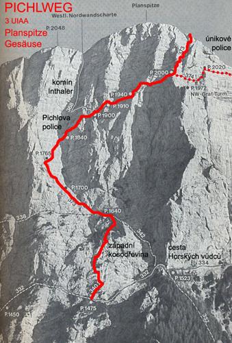 Маршрут восхождения Пола Пройса по Северной стене горы Планшпитц