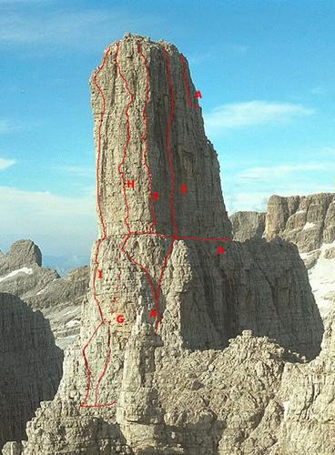 """пик Guglia di Brenta (2872 м) с невероятным маршрутом пройденным Полом Пройсом (под маркировкой буквой """"Н"""""""