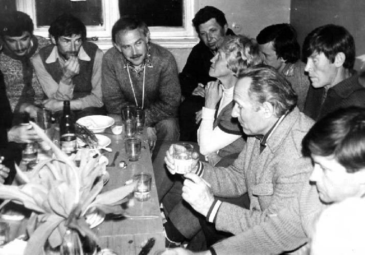 Прощальный вечер на методсборе. Среди участников И. Попова, В. Целовахин, Г. Маслов, В. Ковтун