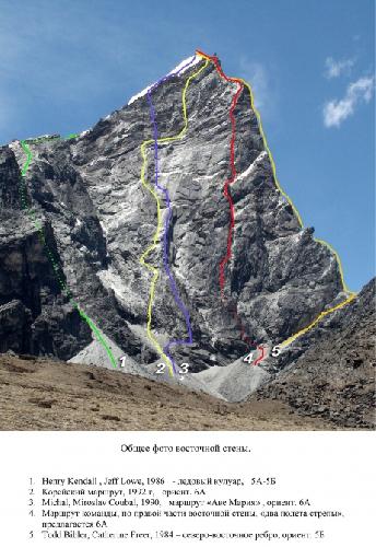 Лобуче Восточная (6090 м), восточная стена, «Два полета стрелы»