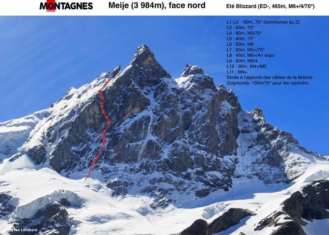 Мейж (3983 м), в левой части северной стены и затем по северному отрогу, Eté blizzard