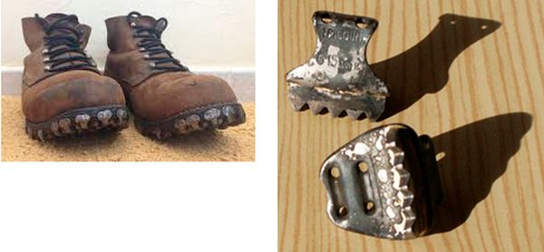 Отриконеные альпинистские ботинки. Трикони. Вверху – рантовый, внизу – подошвенный.