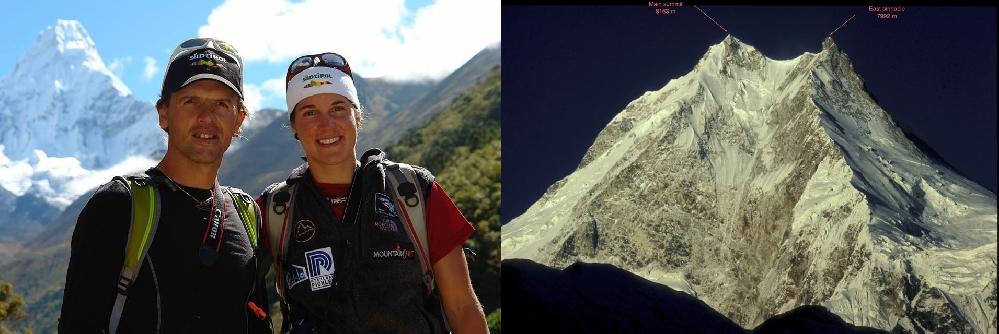 Симоне Моро (Simone Moro) и Тамара Лунгер (Tamara Lunger) / Восточная вершина Манаслу (East Pinnacle / 7992 м) и Главная вершина Манаслу (Main Summit / 8163 м)