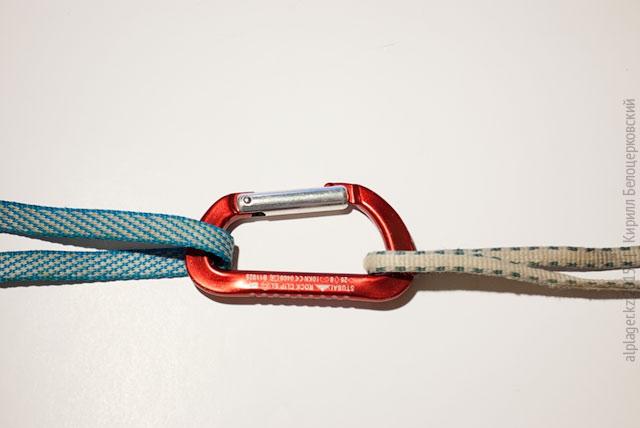 Безопасный способ соединения строп. Карабин, конечно, лучше с муфтой
