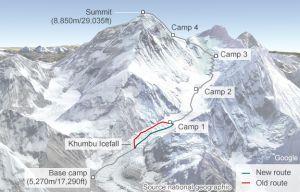 Маршрут восхождения на Эверест изменят из-за лавин