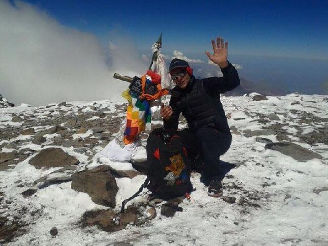 Карл Эглофф (Karl Egloff) на вершине Аконкагуа