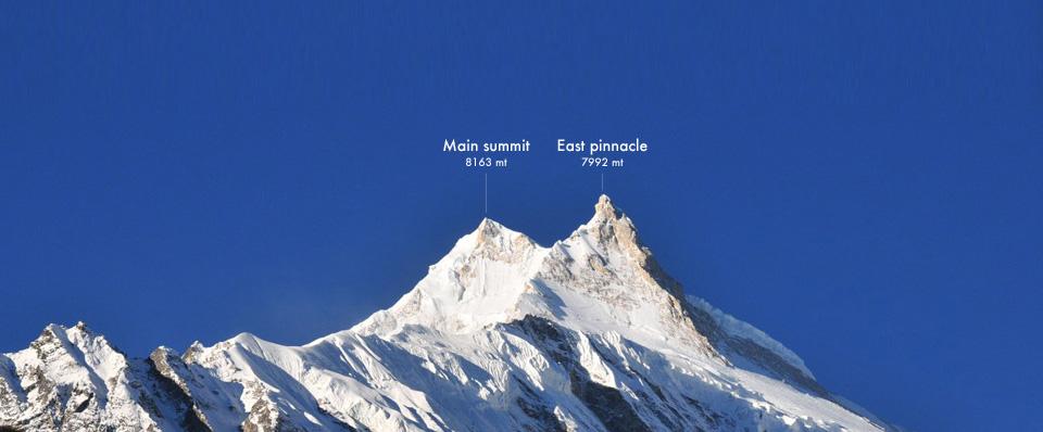 Восточная вершина Манаслу (East Pinnacle / 7992 м) и Главная вершина Манаслу (Main Summit / 8163 м)