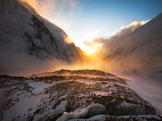 Windy sunset at camp 2 on Everest, khumbu, Nepal. Photo Cory Richards