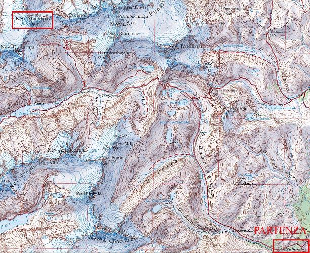 Карта-хребтовка географического расположения вершины Alpamayo