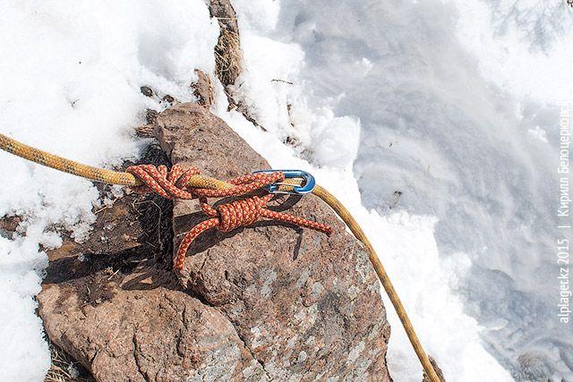 В зависимости от диаметра верёвки и репшнура, сделайте от 3 до 6 оборотов и состегните карабином